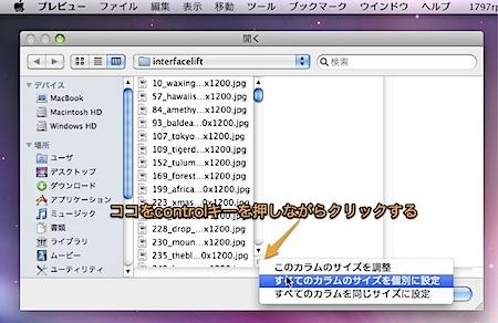 Mac OS Xの「開く・保存」ダイアログで、カラムの幅を自動的に調整する隠れ技 Inforati 1