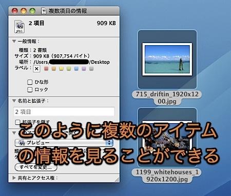 Macで複数のファイルやフォルダの「情報」を同時に表示・変更する方法 Inforati 2