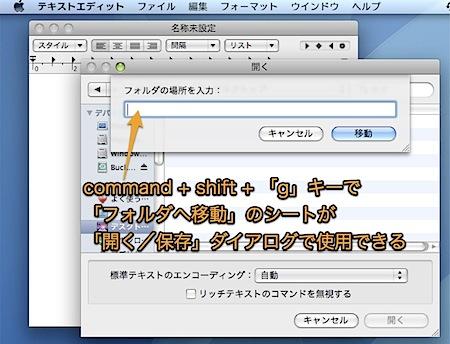 Macの「開く・保存」ダイアログから、不可視フォルダに移動する隠れ技 Inforati 1